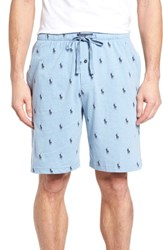 Ralph Lauren Men's Print Jersey Pajama Shorts Blue Heather Cruise Navy