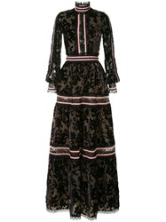 Costarellos Sheer Floral Gown Black