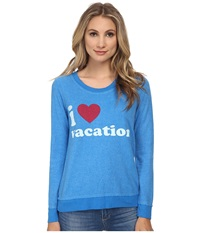 Chaser I Heart Vacation Sweatshirt Pool Women's Sweatshirt Blue