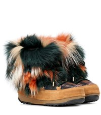 Yves Salomon X Moon Boot Fur Ankle Boots Multicoloured