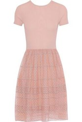 Raoul Layered Ribbed Cotton Blend And Embroidered Point D'esprit Dress Antique Rose