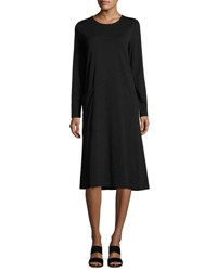 Joan Vass Long Sleeve Crewneck Interlock Shift Dress Petite Black