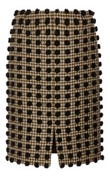 Sonia Rykiel Pom Pom Checked Wool Pencil Skirt Black