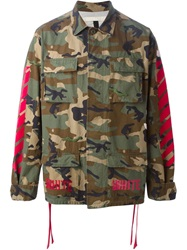 Off White Camouflage Sport Jacket Green