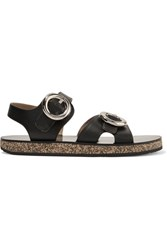 Joseph Buckled Leather And Cork Sandals Black