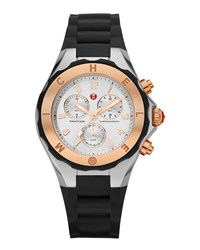Michele Rose Gold Silvertone Tahitian Large Jelly Bean Chronograph Watch Black