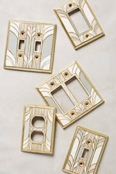 Anthropologie Retro Swirl Switch Plate Cream