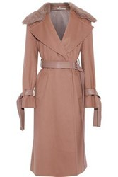 Adeam Woman Shearling And Leather Trimmed Wool Blend Felt Coat Light Brown