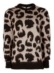 Topman Stone And Black Leopard Design Sweater