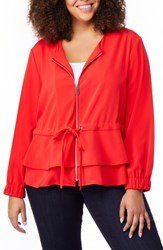 Rebel Wilson X Angels Plus Size Tiered Peplum Jacket Fiery Red