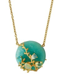 Indulgems Round Amazonite And Mixed Gem Pendant Necklace Blue