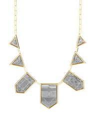 House Of Harlow Engraved Collar Necklace Silver Gold