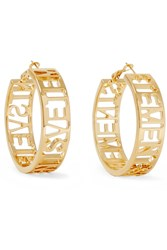Vetements Gold Plated Hoop Earrings One Size