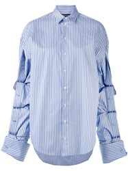 Y Project Oversized Button Sleeve Shirt Women Cotton 34 Blue