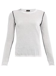 Joseph Contrast Seam Round Neck Sweater White