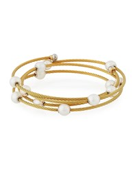Alor Cable Wrap Bangle W Freshwater Pearls Gold