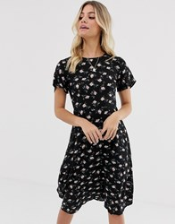 Daisy Street Midi Dress With Tie Back Detail In Floral Black