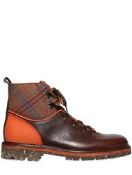 Etro Plaid And Leather Hiking Boots