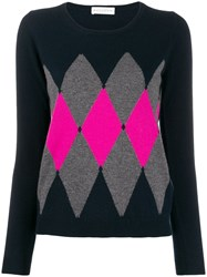 Ballantyne Diamond Pattern Jumper Blue