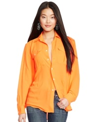 Polo Ralph Lauren Relaxed Fit Button Front Blouse Survival Orange