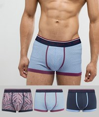 Ted Baker Trunks 3 Pack With Geo And Leaf Print Multi