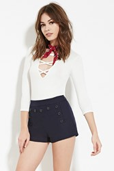 Forever 21 Buttoned Sailor Shorts Navy