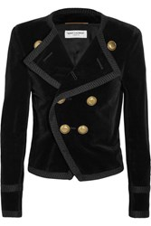 Saint Laurent Cropped Double Breasted Velvet Blazer Black