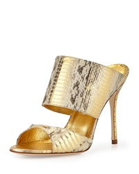 Ripta Snake Double Band Mule Slide Gold Manolo Blahnik