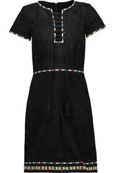 Talitha Embroidered Suede Mini Dress Black