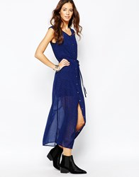 Goldie Breezy Days Button Up Maxi Dress In Leopard Print Blue