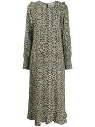 Essentiel Antwerp Teudes Snakeskin Print Dress Green