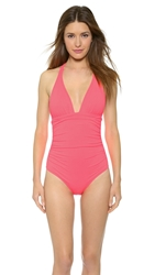Shoshanna Neon Ruby Halter One Piece Swimsuit