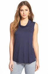 Halogen Roll Neck Sleeveless Top Navy Peacoat