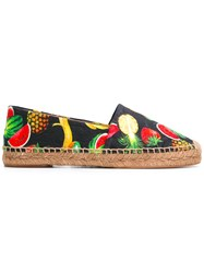Dolce And Gabbana Tropical Print Espadrilles Black
