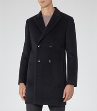 Reiss Mapel Mens Double Breasted Coat In Blue