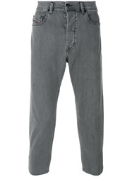 Diesel Stretch Tapered Cropped Jeans Men Cotton Spandex Elastane 30 Grey