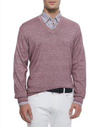 Ermenegildo Zegna Garment Dyed V Neck Sweater Purple