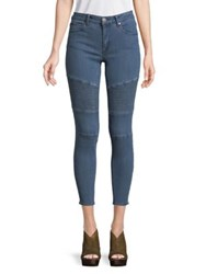 Design Lab Lord And Taylor Ribbed Moto Jeans Medium Wash