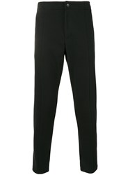 Paolo Pecora Tapered Cropped Trousers Men Cotton Polyester S Black