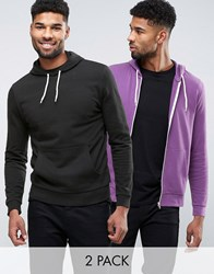 Asos Zip Up Overhead Hoodie 2 Pack Black Purple Black Mangosteen Multi