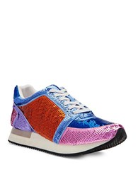 Katy Perry Lena Lace Up Embellished Sneakers Multi Colored