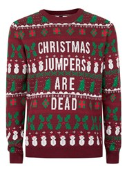 Topman Red Burgundy Christmas Jumpers Are Dead Ugly Sweater
