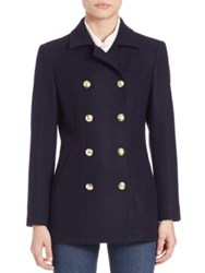 Frame Virgin Wool Double Breasted Peacoat Navy
