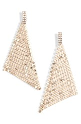 Leith Crystal And Chain Mail Triangle Earrings Gold Crystal