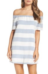 Bb Dakota Women's Stripe Off The Shoulder Shift Dress Ivory