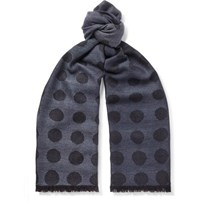 Paul Smith Fringed Polka Dot Wool And Silk Blend Jacquard Scarf Blue