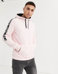 Hollister Icon And Sleeve Tape Logo Hoodie In Pink Green