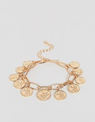 New Look Coin Charm Bracelet Gold