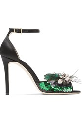Jimmy Choo Annie Sequin And Feather Embellished Satin Sandals Black