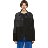 Acne Studios Black And Grey Bla Konst Mathers Recrafted Jacket